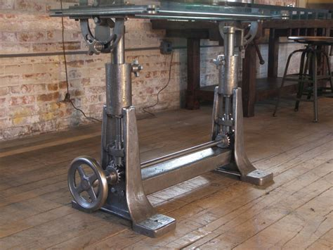 vintage cast iron table base vintage industrial cast iron glass adjustable desk