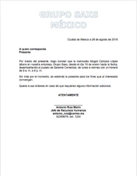 carta de trabajo mexico constancia de trabajo gt formatos y ejemplos milformatos