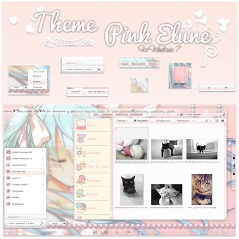 windows 8 themes girly theme pink elune windows 7 n n by marusitaneko on deviantart