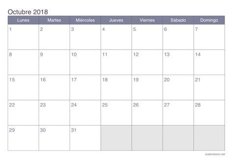Calendario Octubre 2018 Calendario Octubre 2018 Para Imprimir Icalendario Net