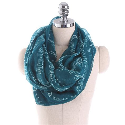 note infinity scarf musical note stave pattern infinity scarf in blackish