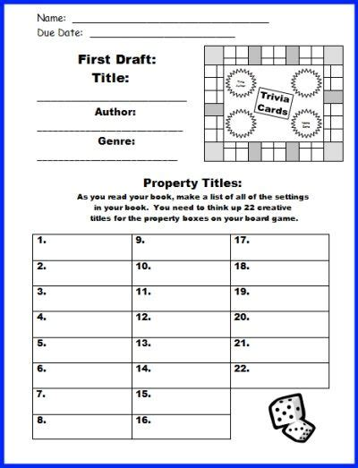 game design rubric game board book report project templates worksheets