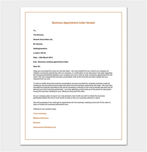 business letter appointment request business appointment letter template 13 sles formats