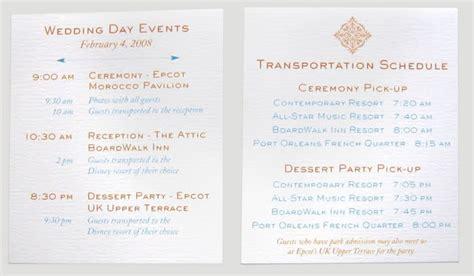 wedding invitation shuttle service wording invitations programs newsletter disney travel babble