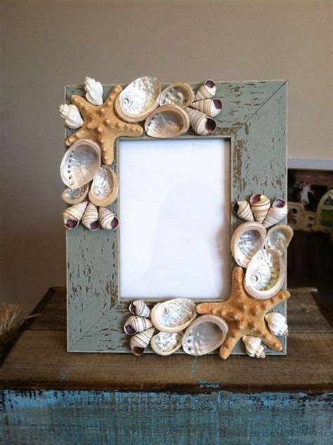 seashell home decor beach decor seashell picture frame starfish picture