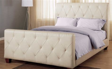 leather tufted bed taupe tufted leather modern bed w block wooden legs