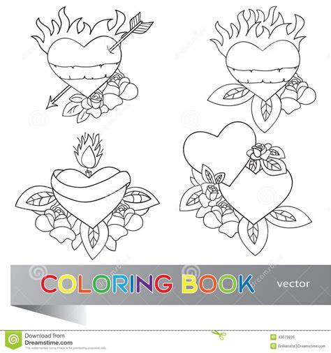 heart tattoo design coloring book stock vector image