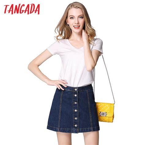 tangada summer denim skirt button plus size