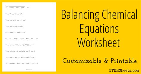 Balancing Chemical Equations Practice Worksheet by Balancing Chemical Equations Practice 8th Grade Reading