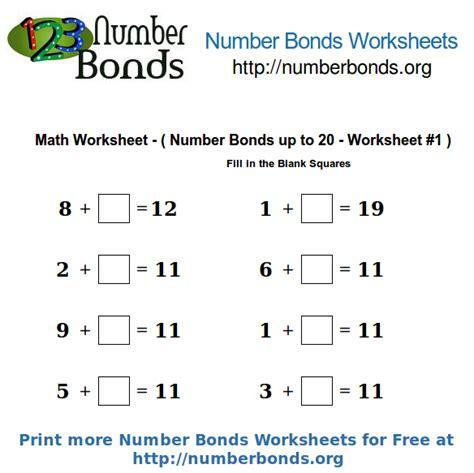 number bonds math worksheet up to 20 worksheet 1 number