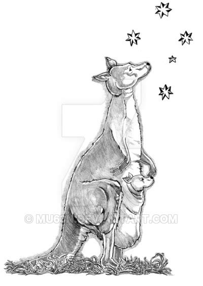 kangaroo tattoo design by mu63n on deviantart