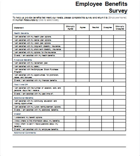 Employee Benefits Survey Form Document Hub Employee Health Benefits Satisfaction Survey Template