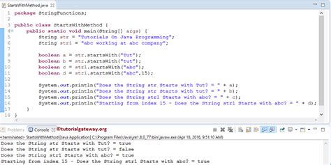tutorial java method java startswith method