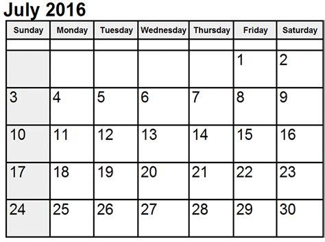 Calendar Printable 2016 July July 2016 Printable Calendar Printable Calendar Templates