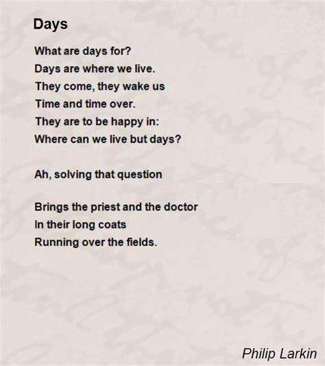 days poem by philip larkin poem hunter
