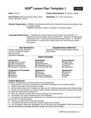 sample siop lesson plan template siop lesson plan template 2 for