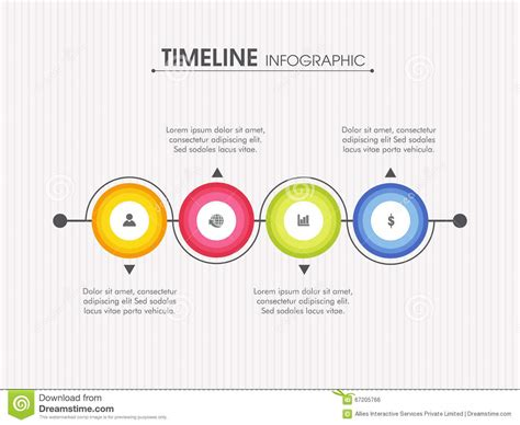 layout of a professional report timeline infographic layout with web icons stock