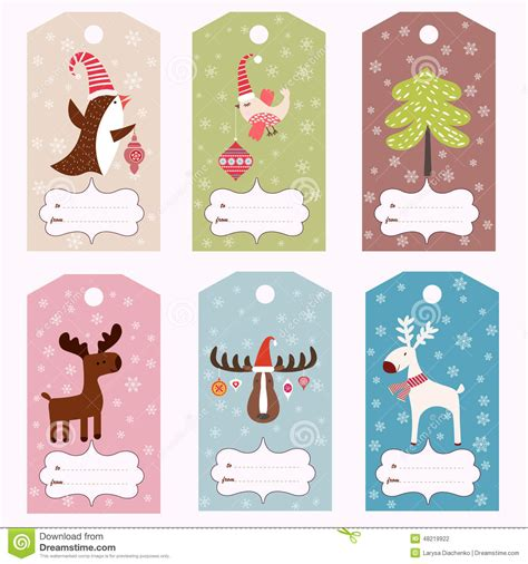 animal small gift cards template set of winter gift tags stock vector image 48219922