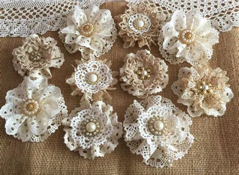 10 shabby chic vintage lace handmade flowers 2228640