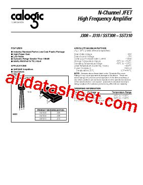transistor fet j310 j310 datasheet pdf calogic llc
