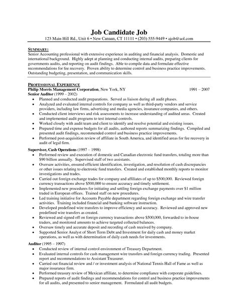 Free Sle Resume by Auditors Resume Sales Auditor Lewesmr