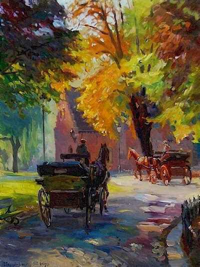 Light And Landscape - scenes of bruges in autumn 2008 by evgeny and lydia v baranov