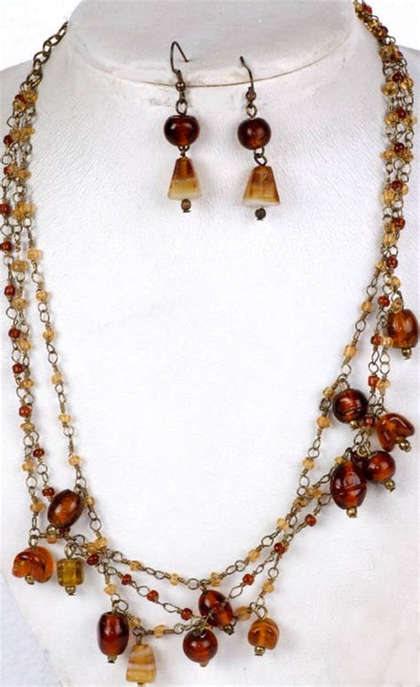 brown beaded necklace brown beaded necklace and earrings set with antiquated chain