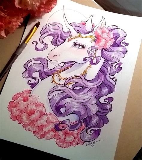 new school unicorn tattoo elegant new school purple mane unicorn with pink flowers
