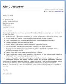 Cover Letter Of Engineer by Design Engineer Cover Letter Sle Resume Downloads