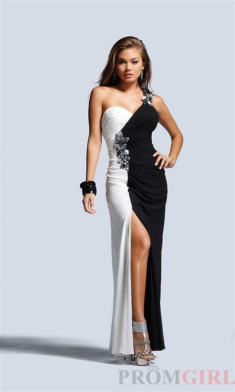 Black White List Dress black and white clothing gowns at promgirl one shoulder floor length black white gown