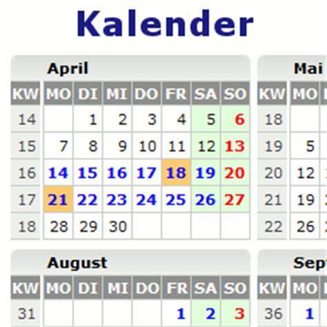 kalender  mit feiertagen kw und ferien