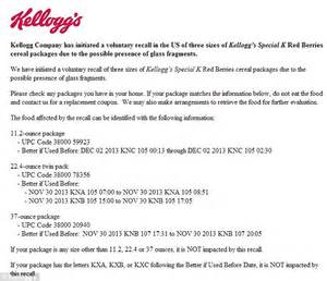 Sle Letter For Product Listing Kellogg S Recalls 36 000 Boxes Of Special K Berries Cereal Glass Fragments Daily Mail