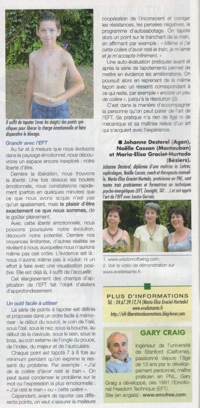 Sante Magazine Juillet 2012 Antistress Eft Techniques De Libert 233 233 Motionnelle eft dans biocontact d 233 cembre 2009