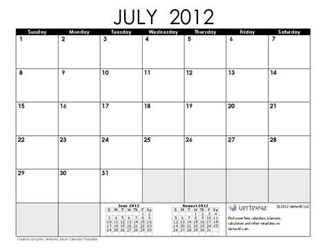 2012 calendar template july 2012 calendar printable