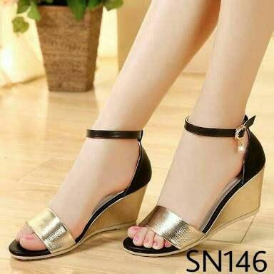 Sandal Sepatu Wedges Santai Pesta T1310 4 jual sendal sepatu wedges cantik pesta bagus glossy gold black shoes