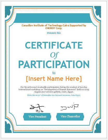 Best Extracurricular Activities For Resume by Certificate Of Participation Templates For Ms Word