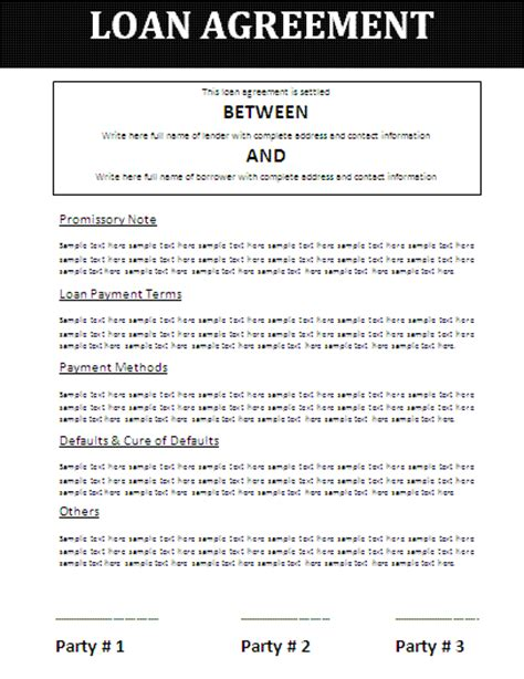 11 loan agreement template word