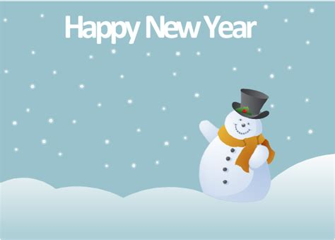 happy new year card template microsoft new year card snowman template
