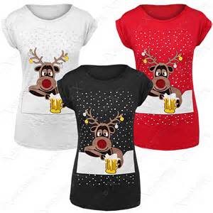 new women ladies christmas drunk rudolph print t shirt