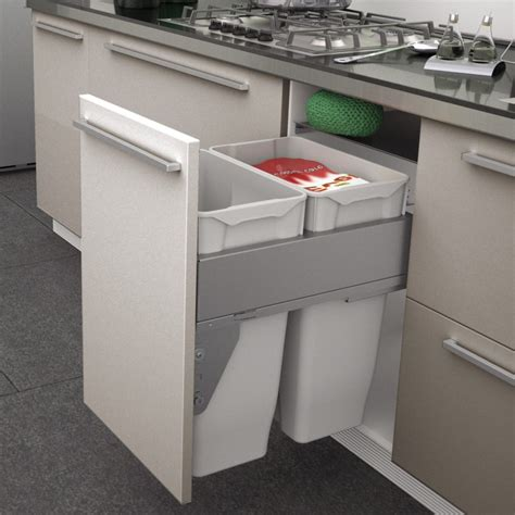 poubelle de cuisine coulissante monobac poubelle coulissante 2 bacs 70 litres