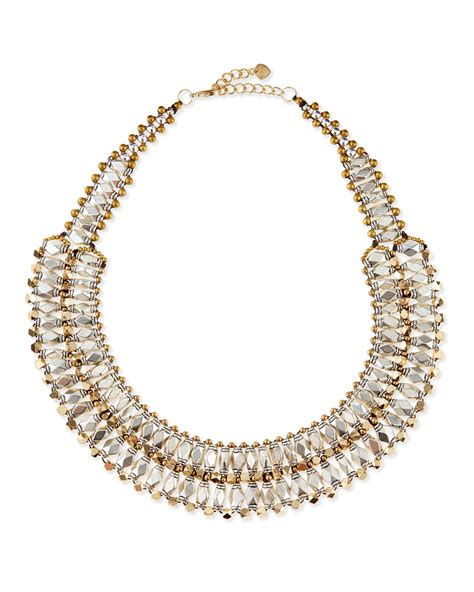 collar beaded necklace nakamol twotone beaded collar necklace in gold lyst