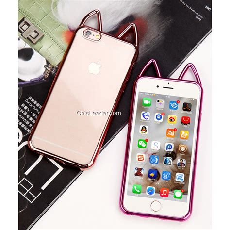Softcase Tpu With Plating Iphone 6 Plus 6s Plus Softcover Backcover cat ears plating soft tpu clear cover for iphone 6 plus 6s plus 5 5 inch