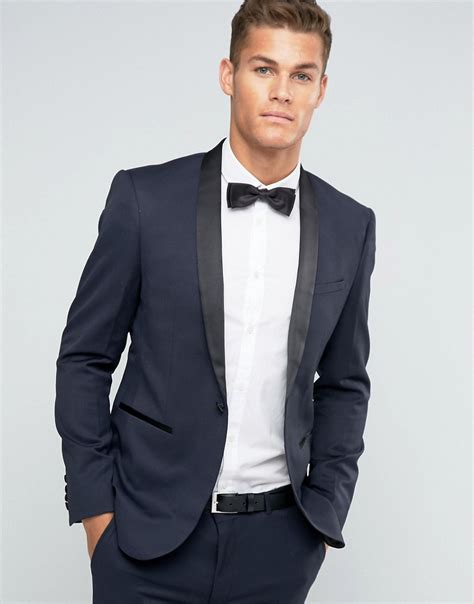 asos asos skinny tuxedo suit jacket in navy at asos