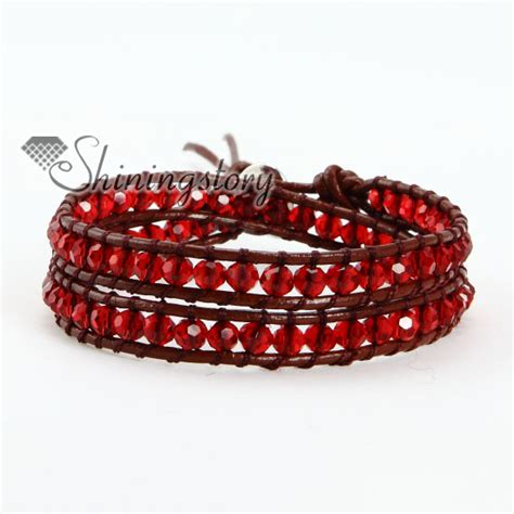 leather and bead bracelet two layer bead beaded leather wrap bracelets wholesale
