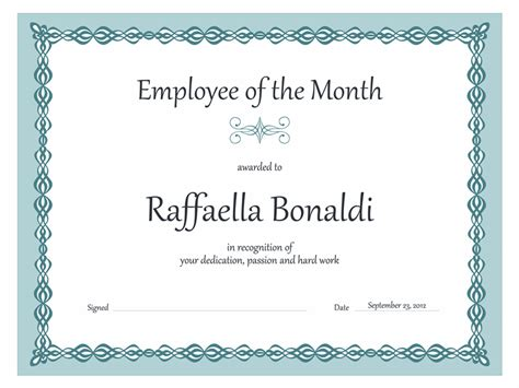employee of the month certificates templates certificates office
