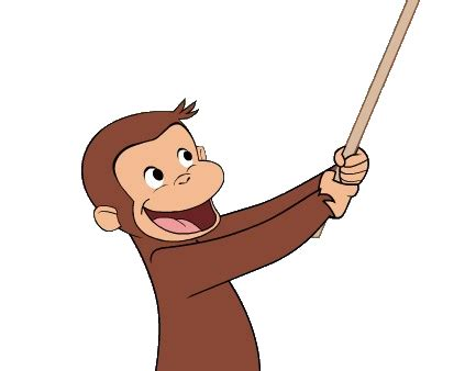 curious george swinging curious george holding a pinata stick by