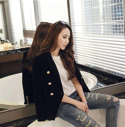 Ol Dress Selya Navy Fit L new fashion midnight navy slim velvet blazer jacket breasted simple