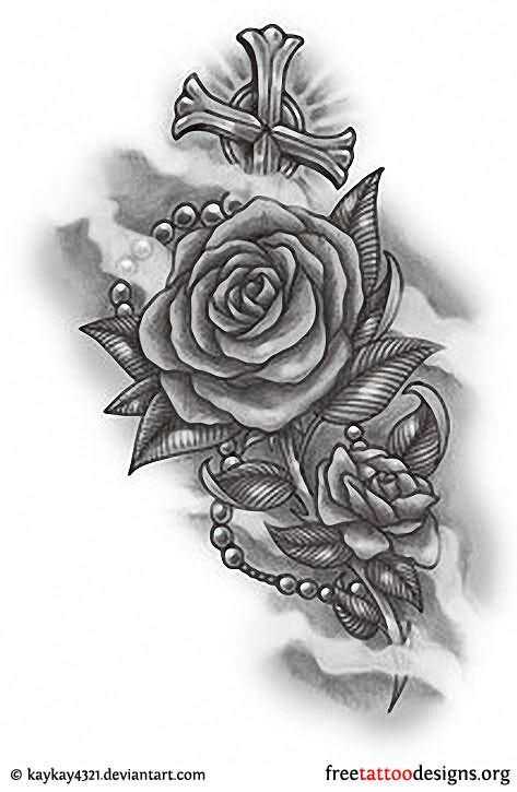 cross with rosary tattoo designs cross images designs