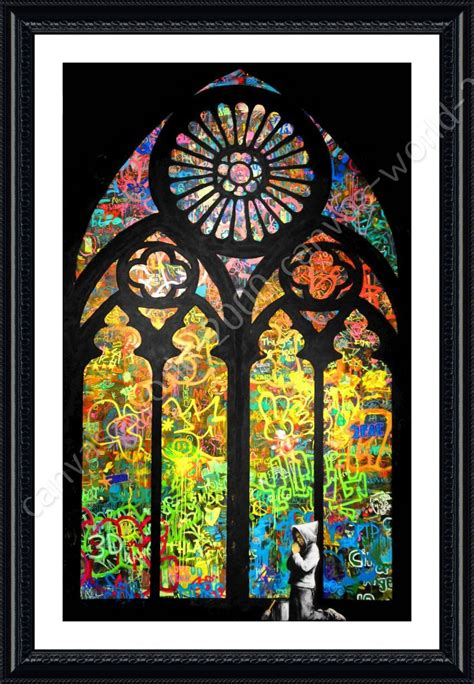 alonline framed poster stained glass window church