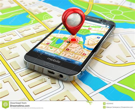 Gps Mobile Phone Mobile Gps Navigation Concept Smartphone On Map Of The